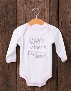 gifts: Happy 1st Fathers Day Pink Onesie!