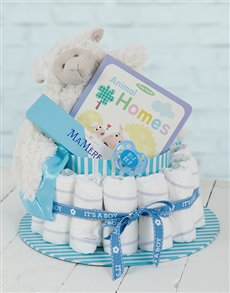 gifts: Blue Baa Baa Baby and Mommy Nappy Cake!