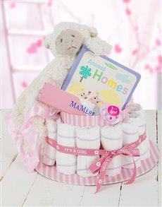 gifts: Pink Baa Baa Baby and Mommy Nappy Cake!