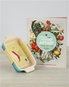 gifts: French Affair Cookbook and Le Creuset Dish!
