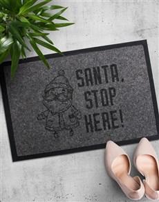 gifts: Santa Stop Here Doormat!