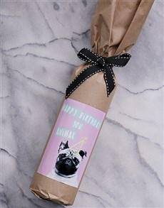 gifts: Birthday Pug Wine in Craft Paper!