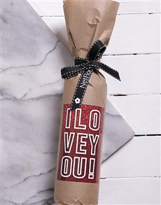 gifts: Sparkly Love Wine in Craft Paper!