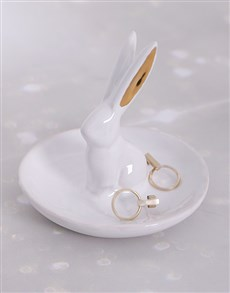 gifts: Ceramic Rabbit Gold Jewellery Holder!