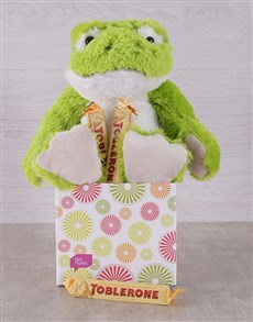 gifts: Green Frog and Toblerone Box!