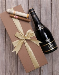 gifts: Gold Box of KWV 10 and Cuban Cigar!