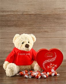 gifts: I Love you Teddy and Lindt Chocs!