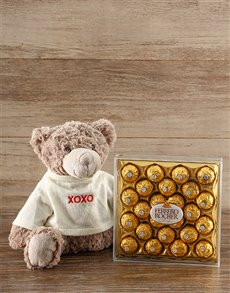 gifts: Hugs & Kisses Teddy & Ferrero Rocher Chocs!