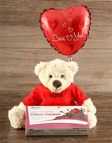 gifts: Lots of Hugs Teddy and Cherry Liqueur Chocs!