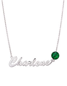 jewellery: MeMi Identity Silver Round Emerald Name Necklace!
