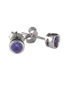 jewellery: 925 Silver 0.76ct Tube Set Tanzanite Earrings!