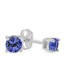 gifts: Sterling Silver Tanzanite 4 Claw studs 0.50ct!