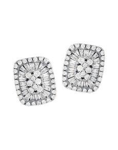jewellery: 9KT White Gold Diamond Stud Earrings 0.19ct!