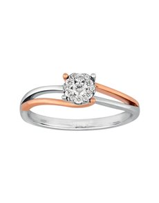 9kt Rose and White Gold Diamond Ring