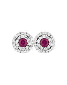 jewellery: 9KT Round Diamond and Ruby Earrings!