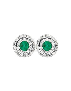 gifts: 9KT Round Diamond and Emerald Earrings!