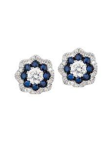 jewellery: 9KT Flower Shaped Diamond and Sapphire Earrings!