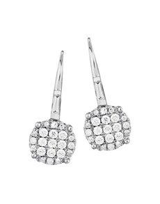 jewellery: 9KT White Gold Round Disk Diamond Earrings!