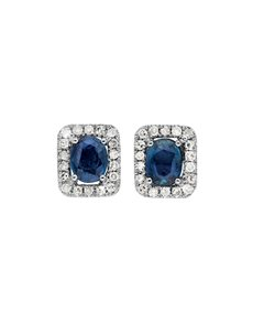 jewellery: 9KT Square Shaped Diamond and Sapphire Earrings!