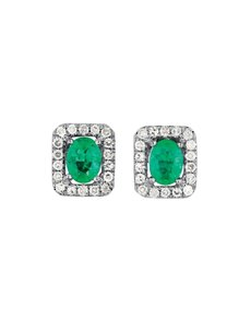 jewellery: 9KT Square Diamond and Emerald Earrings!