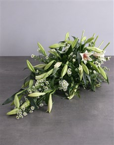 flowers: White Lily Funeral Coffin Display!
