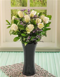 flowers: White Roses in a Black Glass Vase!