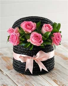 flowers: Pink Roses in a Hat Box!