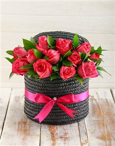 flowers: Hat Box of Cerise Roses!