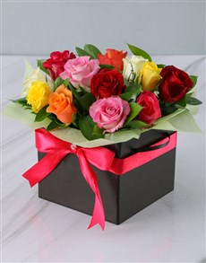 gifts: Mixed Roses in a Black Box!