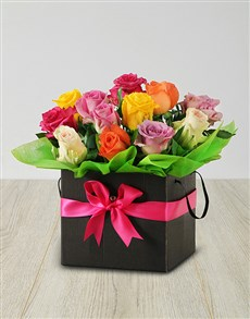 flowers: Mixed Roses in a Black Box!