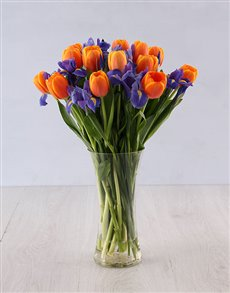 flowers: Iris and Tulip Vase Arrangement!