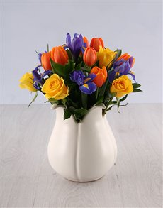 flowers: Tulip Shaped Vase of Roses Iris and Tulip!