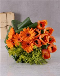 flowers: Orange Gerbera and Tulip Bouquet!