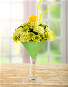 flowers: Green and Yellow Flowers in a Wine Vase!