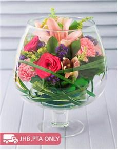 flowers: Floral Mixture in a Brandy Vase!