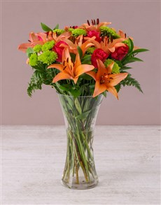 Picture of Pretty In Pink Lilies and Cerise Roses in a Vase !