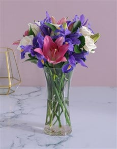 flowers: Roses and Irises in a Vase !