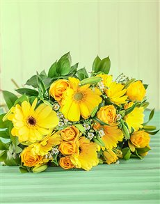 flowers: Yellow Rose and Gerbera Bouquet!