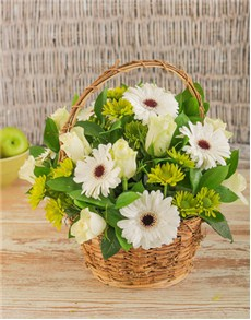 flowers: White Mix Flower Basket!