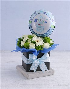 flowers: Baby Boy Floral Box with Balloon!