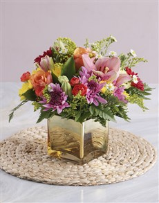 flowers: Mixed Flowers in a Gold Vase!