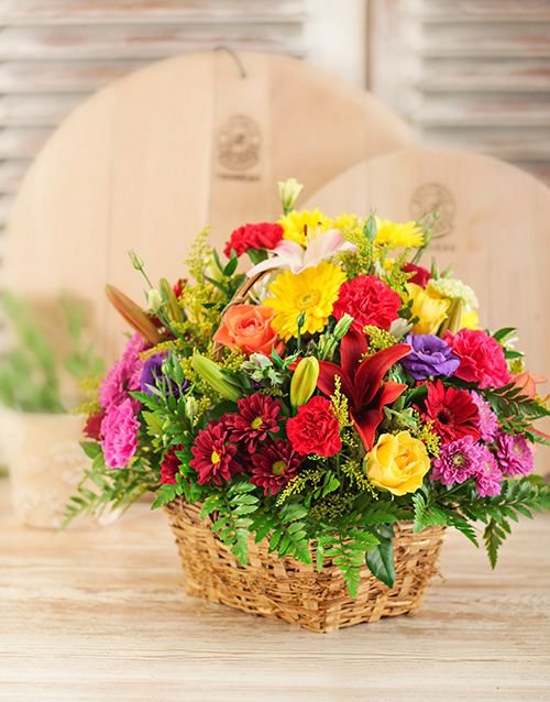 Flowers: Mixed Flowers in Brown Basket!