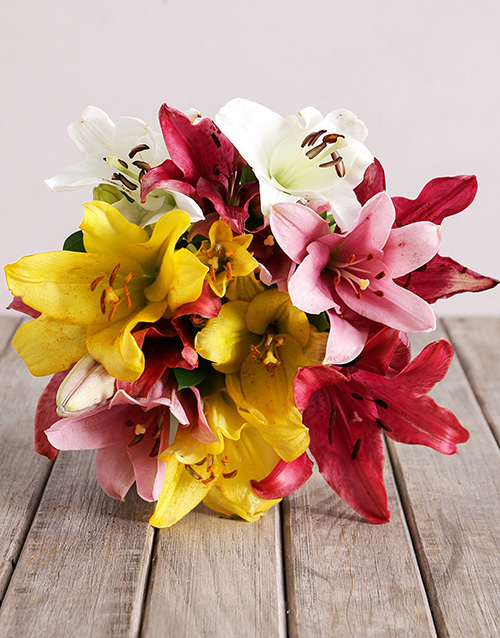 lilies: Assorted Lily Mix Bouquet!