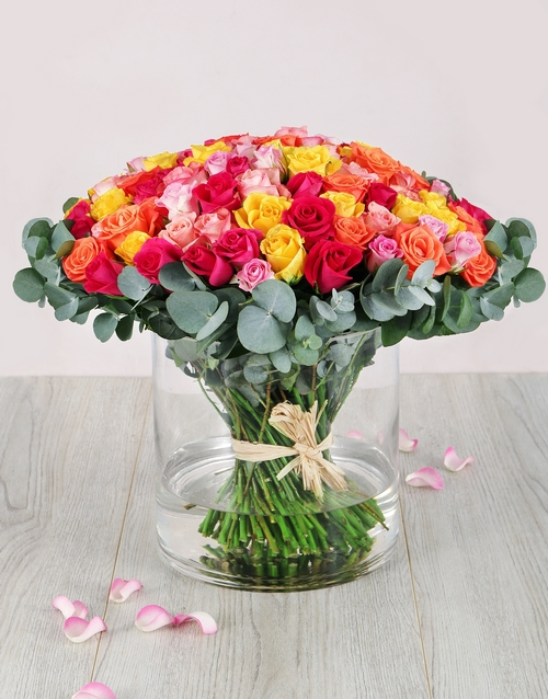 mothers-day: One Hundred Mixed Roses in Cylinder Vase!