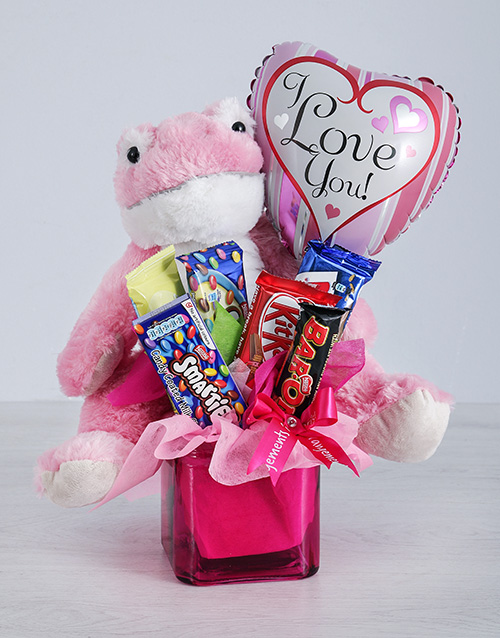 balloon: Pink Frog Chocolate and Love Balloon Gift!