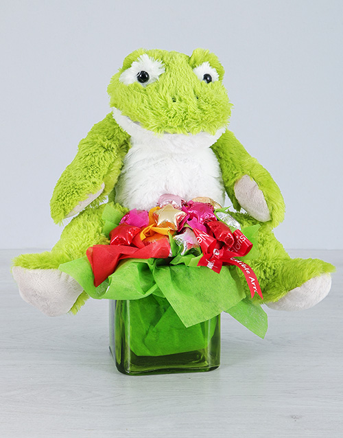 teddy-bears: Green Froggy and Choc Star Vase!