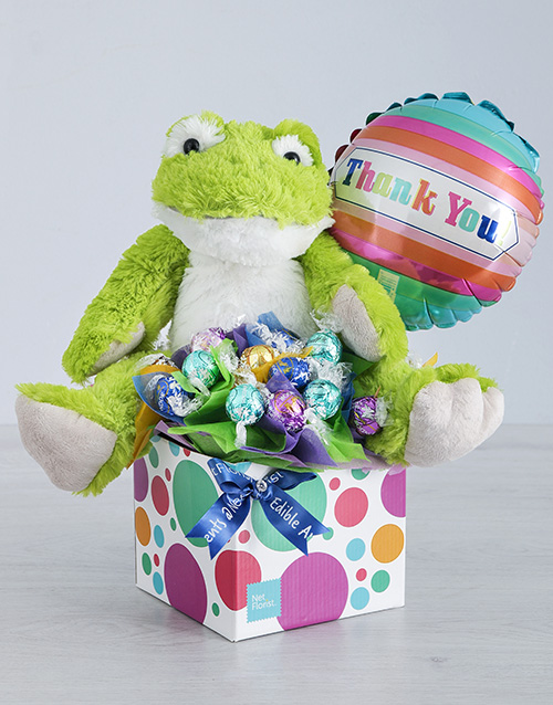 balloon: Green Froggy Lindt and Thank You Balloon Box!