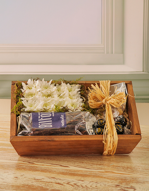 wooden-crates: Floral and Snack Hamper!