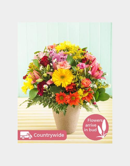 good-luck: Seasonal Flowers in Ceramic Vase!