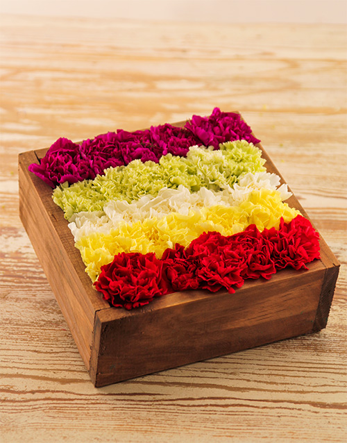 wooden-crates: Mixed Carnations in Wooden Box!